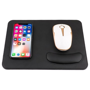 2 in 1 Qi Wireless Charging Mouse Pad w/ Wrist Support Black