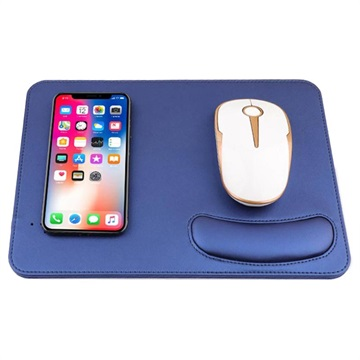 2 in 1 Qi Wireless Charging Mouse Pad w/ Wrist Support Blue