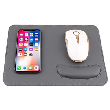 2 in 1 Qi Wireless Charging Mouse Pad w/ Wrist Support Grey