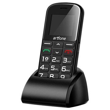 Artfone CS182 cellulare per anziani dual sim, SOS Nero