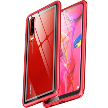 Huawei P30 Cover with Magnetic Tempered Glass Back Red