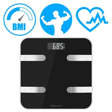 Forever AS 100 Analytical Smart Body Fat Scale Black