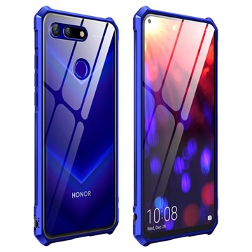 Honor View 20 Metallic Bumper w/ Tempered Glass Back Blue