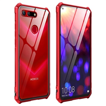 Honor View 20 Metallic Bumper w/ Tempered Glass Back Red