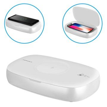 Sterilizzatore UV Box Momax Q.Power & Caricabatterie Wireless 10W Bianco
