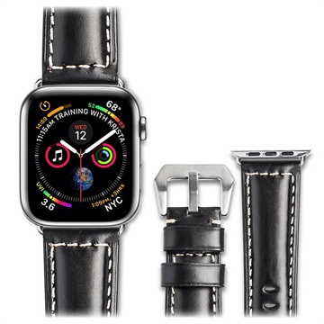 Qialino Apple Watch Series 4/3/2/1 Leather Strap 42mm, 44mm Black