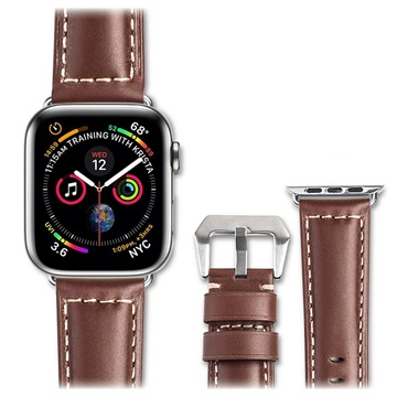 Qialino Apple Watch Series 4/3/2/1 Leather Strap 42mm, 44mm Brown