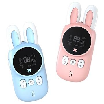 Rabbit Design Kids Walkie Talkies XJ11 Blue & Pink