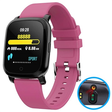 Waterproof Bluetooth Smartwatch w/ IR Thermometer CV06 Hot Pink