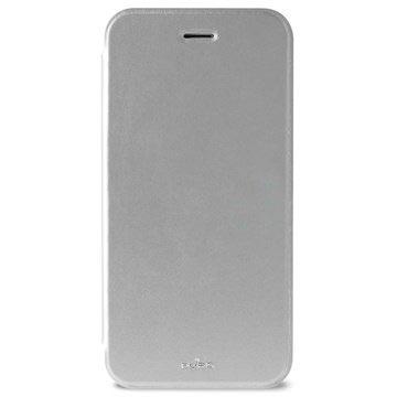 Custodia in Pelle Puro Booklet Crystal per iPhone 6 Plus / 6S Plus Color Argento