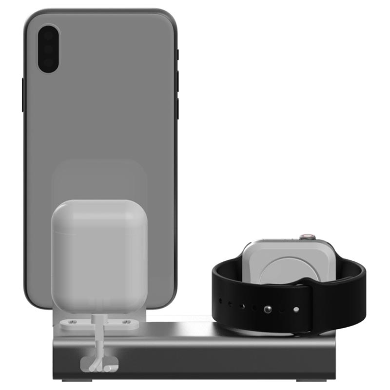 Supporto da Ricarica 3-in-1 Aluminum Alloy per iPhone, Apple Watch, AirPods