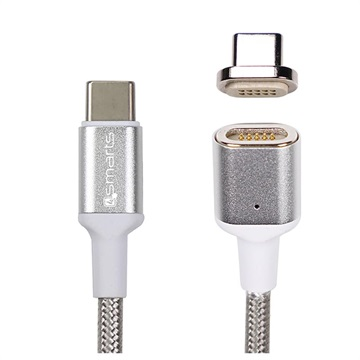 4smarts GravityCord Ultimate Magnetic USB-C to USB-C Cable - 1.8m - Silver