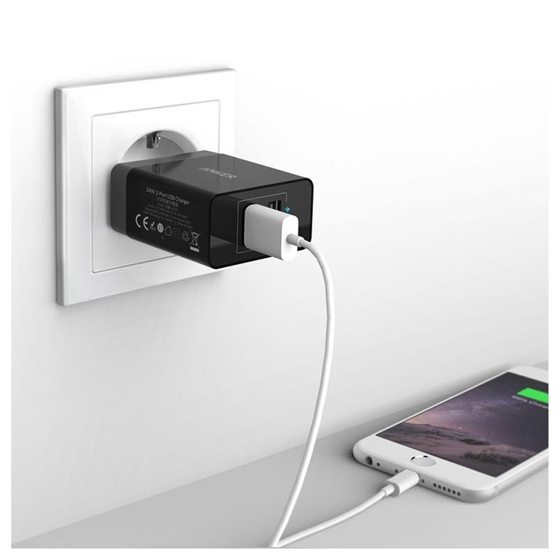 Anker PowerPort 2 Fast Wall Charger - 2 x USB, 24W - Black