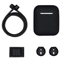 4-in-1 Apple AirPods / AirPods 2 Silicone Accessories Kit - Black