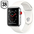 Apple Watch Series 3 LTE MQLV2ZD/A - Acciaio Inossidabile, Cinturino Sport, 38mm, 16GB - Bianco/Argento