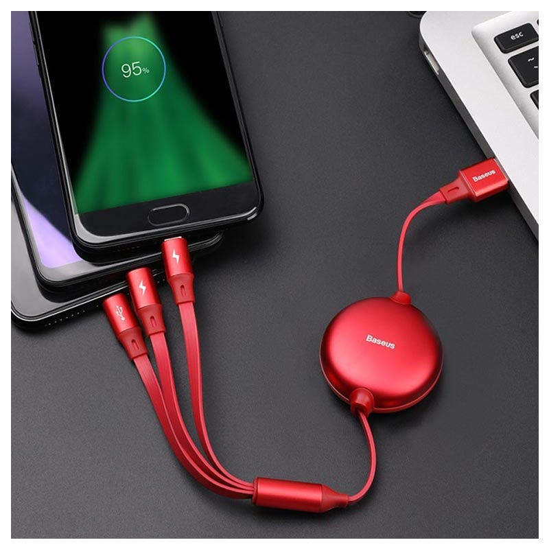 Cavo 3-in-1 Baseus Little Octopus - Lightning, USB-C, MicroUSB - Rosso