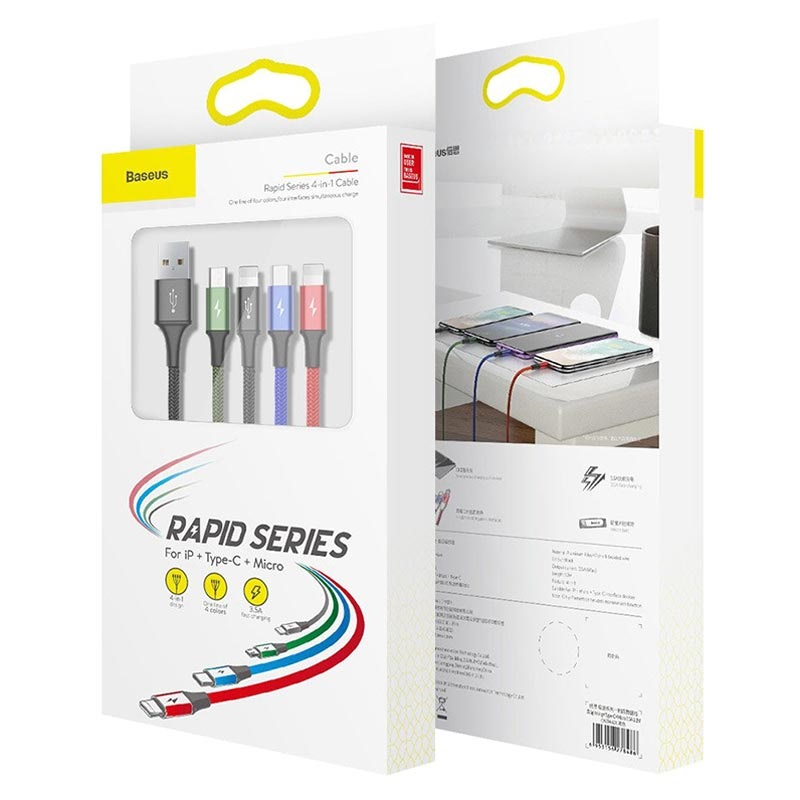 Baseus Rapid Series 4-in-1 Data And Charging Cable - 1.2m - Black