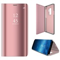 Custodia a Flip Luxury Mirror View per Samsung Galaxy S9+ - Rosa Oro