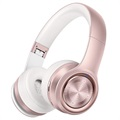 Picun P26 Foldable Wireless Headphones with MicroSD and AUX - Rose Gold