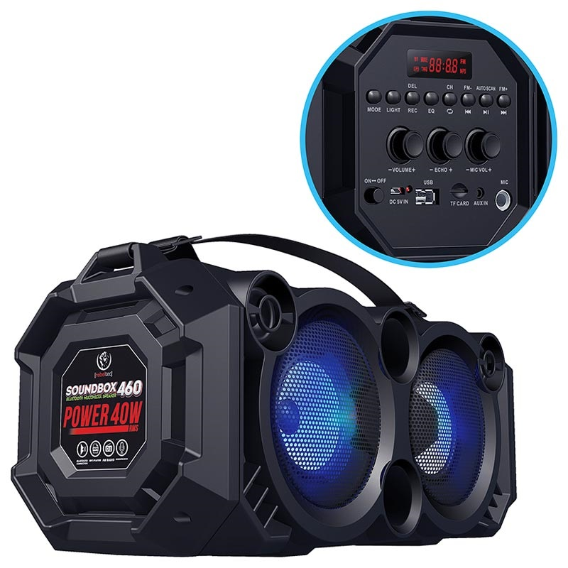 Rebeltec SoundBox 460 Bluetooth Speaker with RGB - 40W RMS - 4000mAh