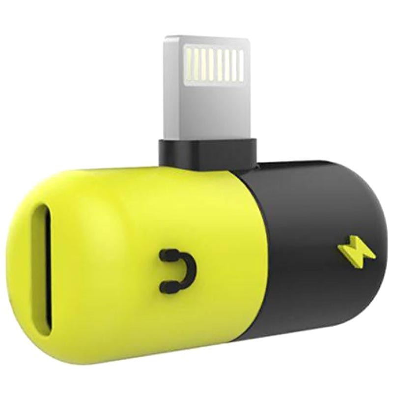 Silicone 2-in-1 Lightning Audio Adapter - Black / Yellow