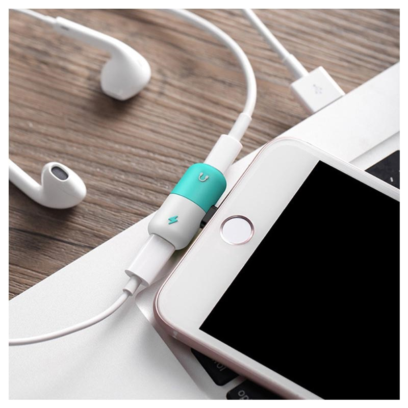 Silicone 2-in-1 Lightning Audio Adapter - White / Cyan