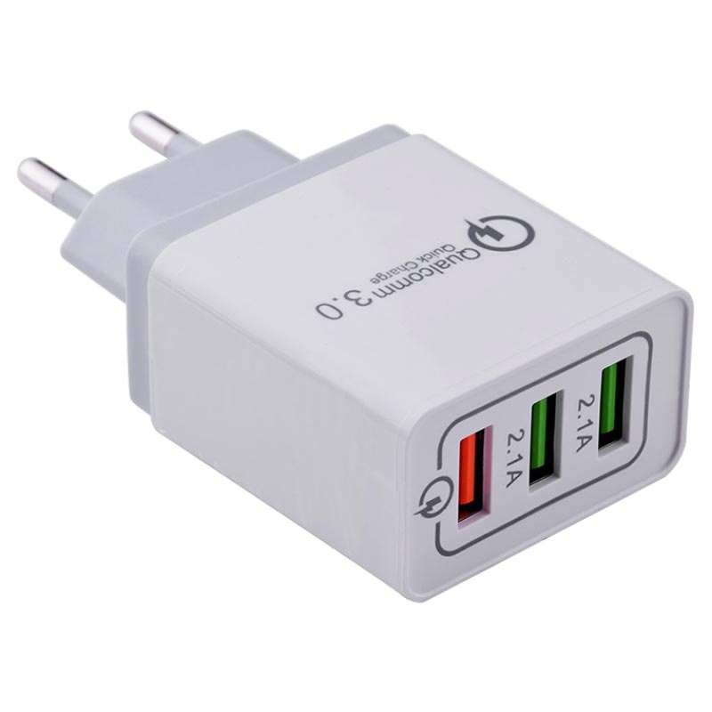 Triple USB QC 3.0 Wall Charger with Lightning Cable