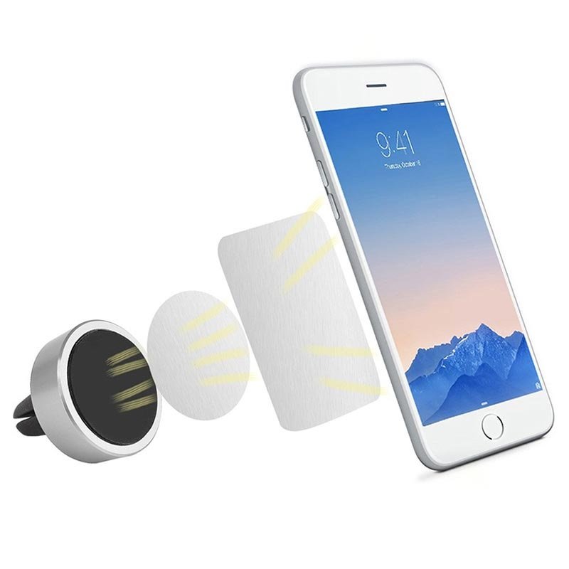 Universal Magnetic Smartphone Air Vent Car Holder - Silver