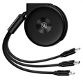 Usams US-SJ280 3-in-1 Retractable USB Cable - Black