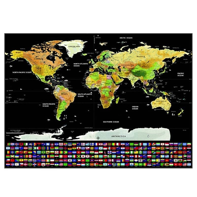 World Scratch Map with National Flags