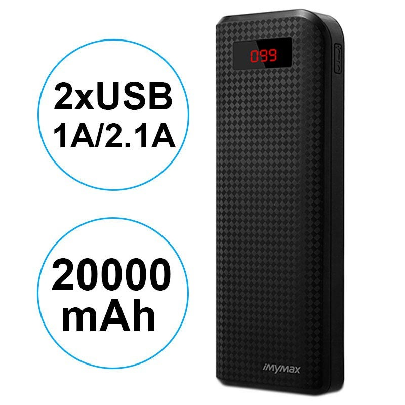 Power Bank con 2xUSB iMyMax Carbon MM-PB/005 - 20000mAh - Nero