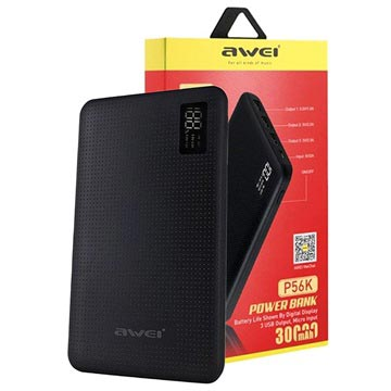 Power Bank Awei Slim P56K con display LED - 30000mAh - Nero