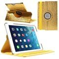 Custodia in Pelle Ruotabile Smart per iPad Air - Pelle Coccodrillo - Color Oro