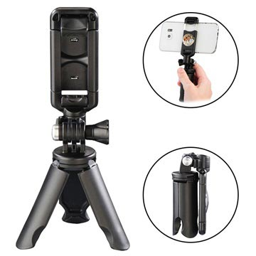 Mini Treppiede Hama Pocket per Smartphones - 50mm-85mm - Nero