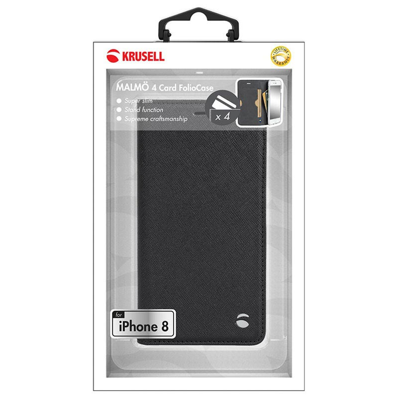iPhone X Krusell Malmo 4 Card Wallet Case - Black