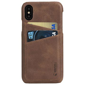 iPhone X Krusell Sunne 2 Card Leather Case - Brown