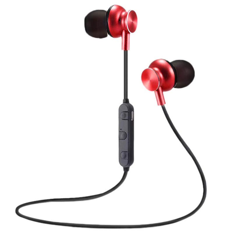 Auricolari Wireless In-Ear Bluetooth Magnetiche M6 - Rosso