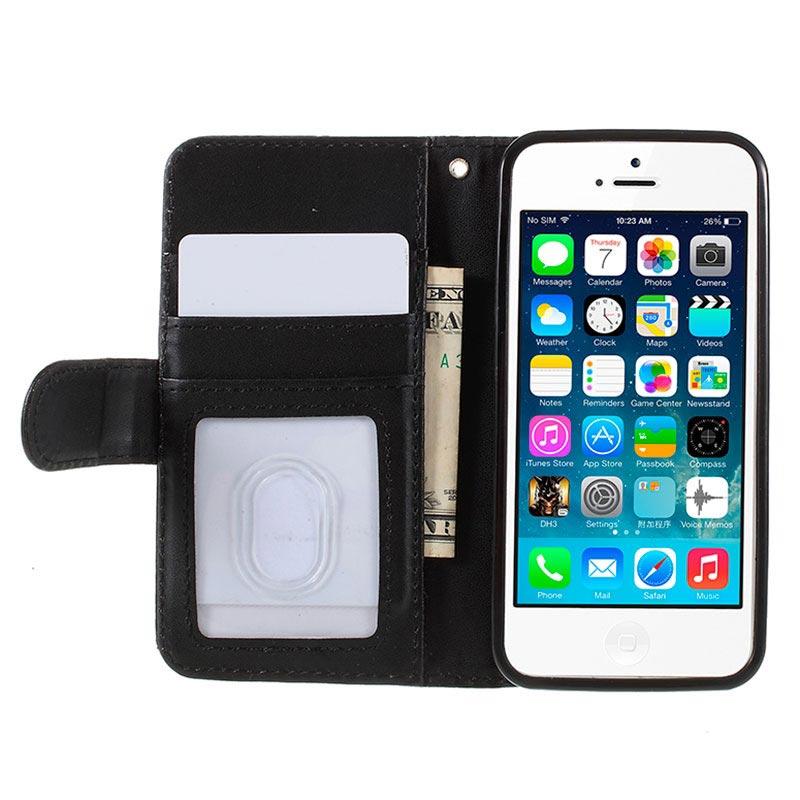 Custodia Portafoglio per iPhone 5/5S/SE - Nera