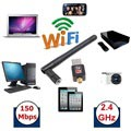 USB Wireless Adapter with 2dBi Antenna - 150Mb/s - Black